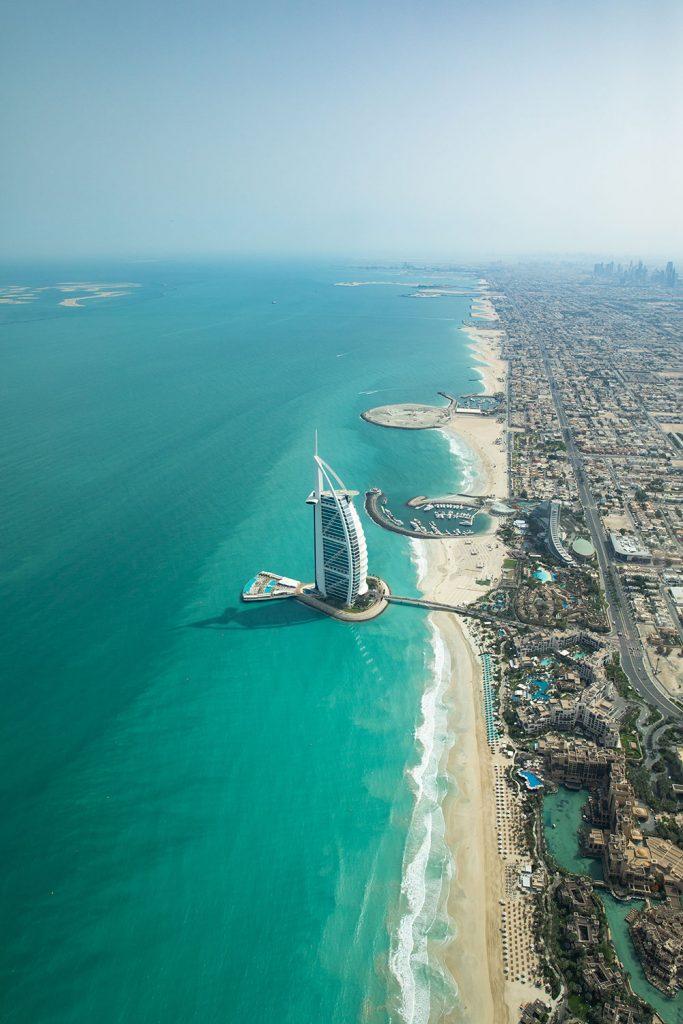 Dubai seafront aerial view