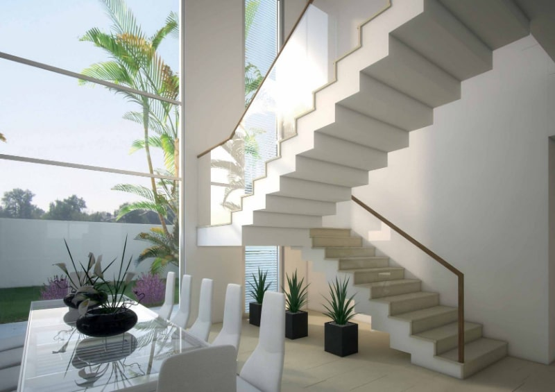 modern stairs dining area